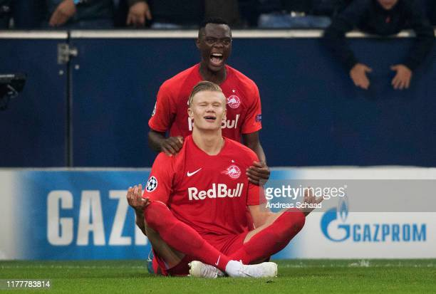 Erling Haland of FC Salzburg celebrates with his teammate Patson Daka of FC Salzburg after scoring on the goal for 11 during the champions league...