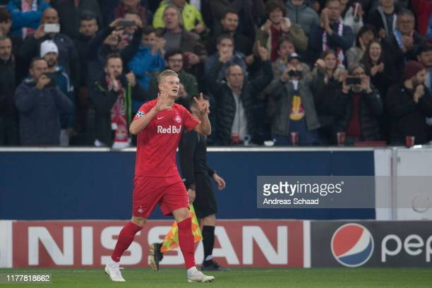 Erling Haland of FC Salzburg reacts during the champions league group E match between FC Salzburg and SSC Napoli at Salzburg Stadion on October 23...