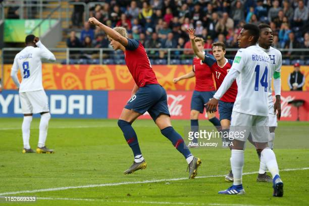 Erling Haland of Norway celebrates after scoring his team's eighth goal during the 2019 FIFA U20 World Cup group C match between Norway and Honduras...