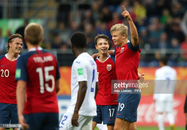 Erling Haland of Norway celebrates after scoring his team's eleventh goal during the 2019 FIFA U-20 World Cup group C match between Norway and...
