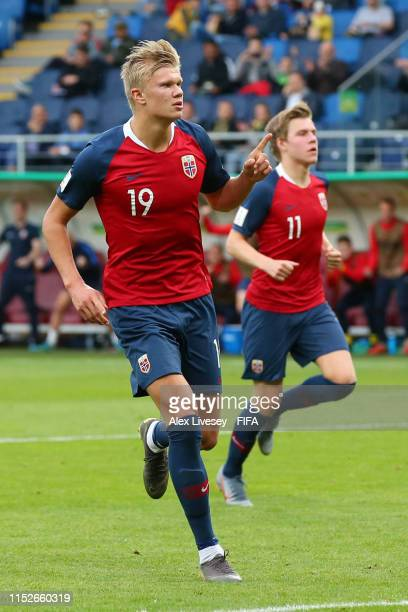 Erling Haland of Norway celebrates after scoring his team's fourth goal from the penalty spot during the 2019 FIFA U20 World Cup group C match...