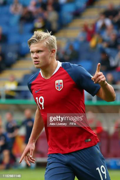 Erling Haland of Norway celebrates after scoring his team's fourth goal from the penalty spot during the 2019 FIFA U-20 World Cup group C match...