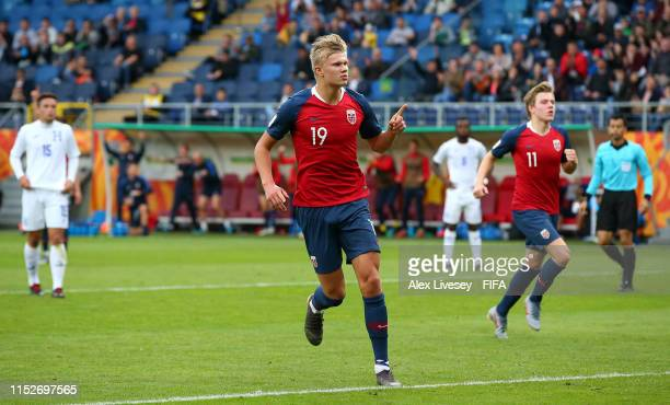 Erling Haland of Norway celebrates after scoring his team's fourth goal during the 2019 FIFA U20 World Cup group C match between Norway and Honduras...
