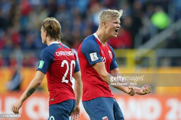 Erling Haland of Norway celebrates after scoring his team's ninth goal during the 2019 FIFA U20 World Cup group C match between Norway and Honduras...