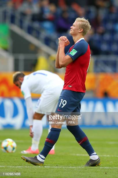 Erling Haland of Norway celebrates after scoring his team's second goal during the 2019 FIFA U20 World Cup group C match between Norway and Honduras...