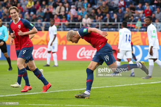 Erling Haland of Norway celebrates after scoring his team's seventh goal during the 2019 FIFA U20 World Cup group C match between Norway and Honduras...