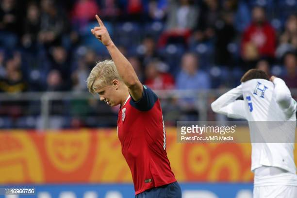 Erling Haland of Norway celebrates scoring a goal during the FIFA U20 World Cup match between Norway and Honduras on May 30 2019 in Lublin Poland