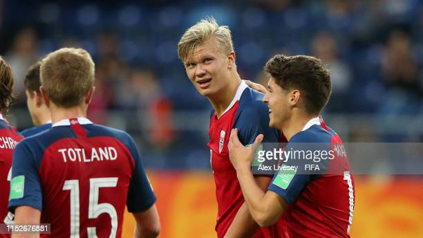 Erling Haland of Norway celebrates with teammate Eman Markovic after scoring his team's eleventh goal during the 2019 FIFA U20 World Cup group C...
