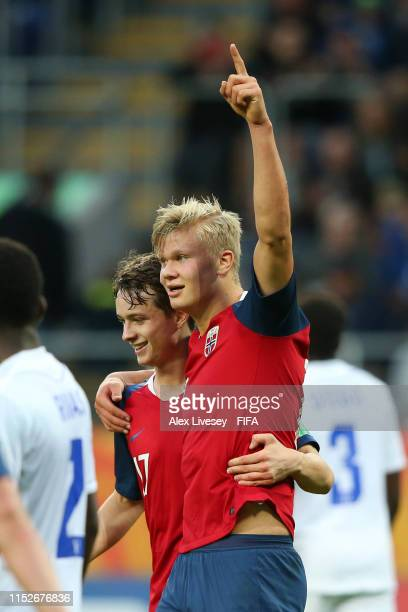 Erling Haland of Norway celebrates with teammate Hakon Evjen after scoring his team's eleventh goal during the 2019 FIFA U20 World Cup group C match...