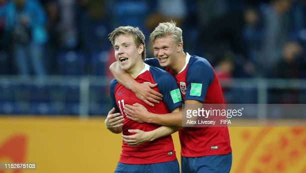 Erling Haland of Norway celebrates with teammate Jens Hauge after the 2019 FIFA U20 World Cup group C match between Norway and Honduras at Arena...