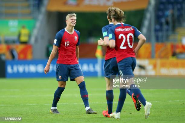 Erling Haland of Norway celebrates with teammates after scoring his team's seventh goal during the 2019 FIFA U20 World Cup group C match between...