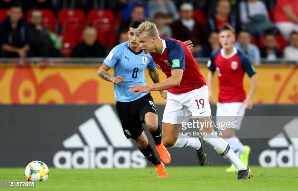 Erling Haland of Norway is seen during the 2019 FIFA U20 World Cup group C match between Uruguay and Norway at Lodz Stadium on May 24 2019 in Lodz...