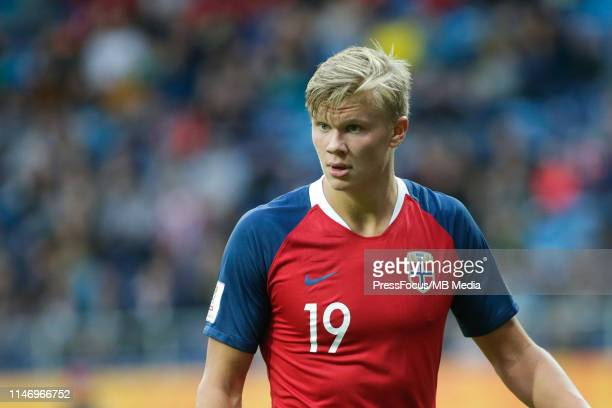 Erling Haland of Norway looks on during the FIFA U20 World Cup match between Norway and Honduras on May 30 2019 in Lublin Poland