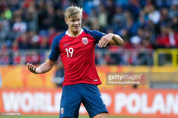 Erling Haland of Norway reacts during the FIFA U20 World Cup match between Norway and Honduras on May 30 2019 in Lublin Poland