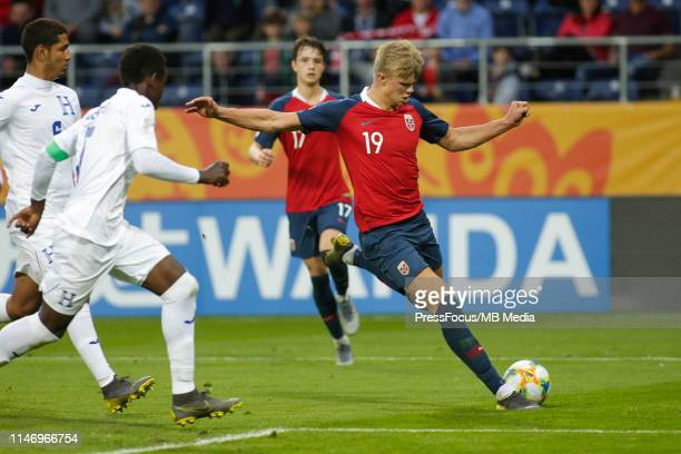 Erling Haland of Norway scores a goal during the FIFA U20 World Cup match between Norway and Honduras on May 30 2019 in Lublin Poland