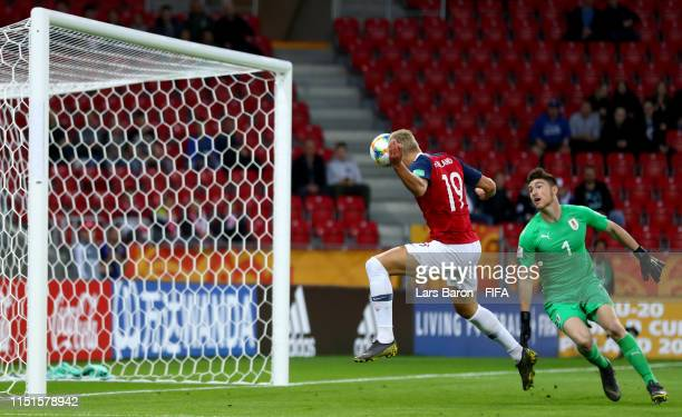 Erling Haland of Norway scores an offside goal during the 2019 FIFA U20 World Cup group C match between Uruguay and Norway at Lodz Stadium on May 24...