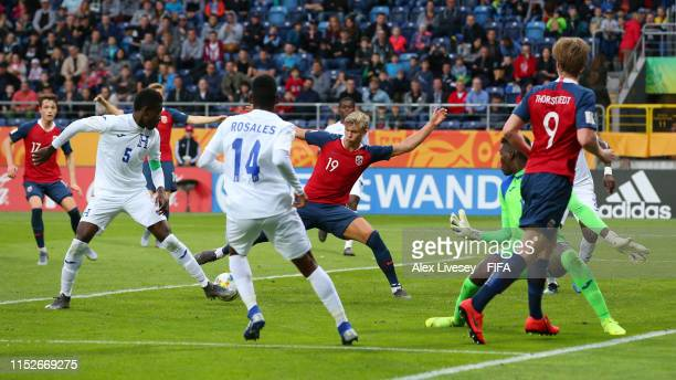 Erling Haland of Norway scores his team's eighth goal during the 2019 FIFA U20 World Cup group C match between Norway and Honduras at Arena Lublin on...