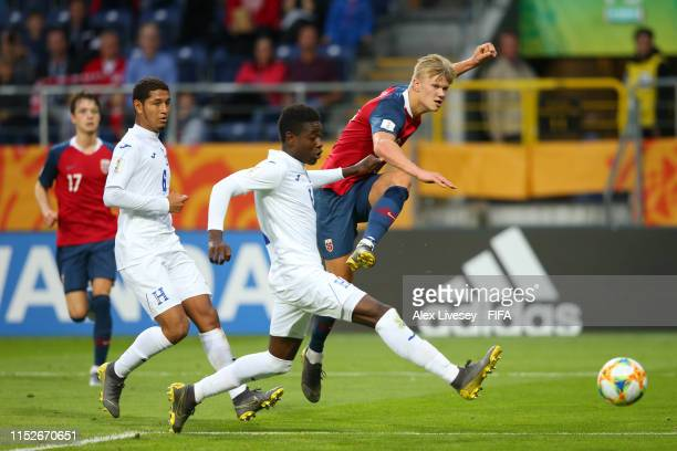 Erling Haland of Norway scores his team's eleventh goal during the 2019 FIFA U20 World Cup group C match between Norway and Honduras at Arena Lublin...