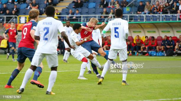 Erling Haland of Norway scores his team's fifth goal during the 2019 FIFA U20 World Cup group C match between Norway and Honduras at Arena Lublin on...