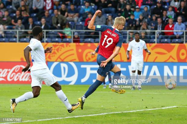 Erling Haland of Norway scores his team's ninth goal during the 2019 FIFA U-20 World Cup group C match between Norway and Honduras at Arena Lublin on...