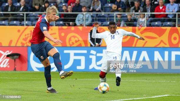 Erling Haland of Norway scores his team's seventh goal during the 2019 FIFA U20 World Cup group C match between Norway and Honduras at Arena Lublin...