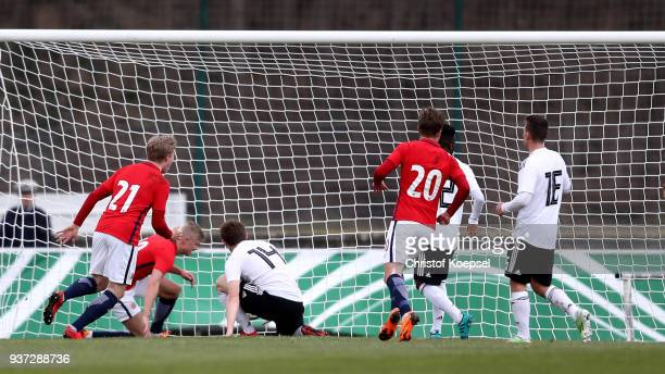 Erling Haland of Norway scores the second goal during the UEFA Under19 European Championship Qualifier match between Germany and Norway at Stadion...