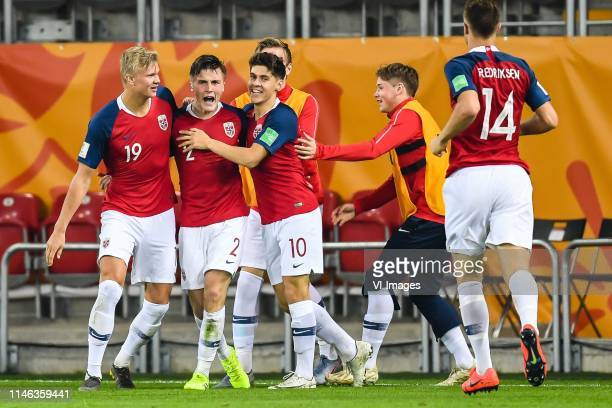 Erling Haland of Norway U20, Christian Borchgrevink of Norway U20, Eman Markovic of Norway U20, Ulrik Fredriksen of Norway U20 during the FIFA U-20...