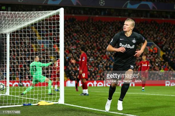 Erling Haland of Red Bull Salzburg celebrates after scoring a goal to make it 33 during the UEFA Champions League group E match between Liverpool FC...