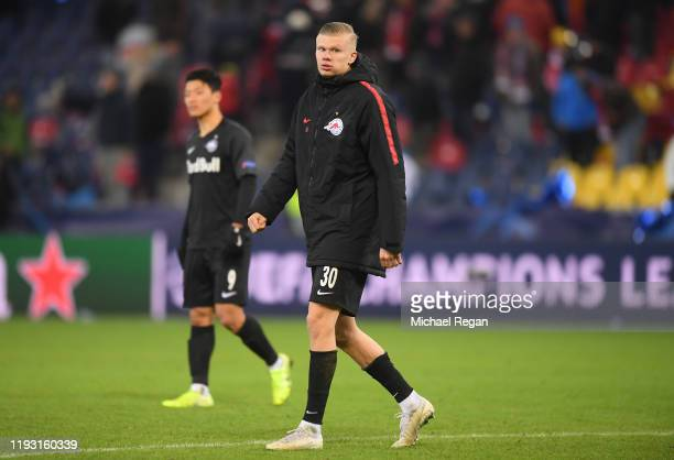 Erling Haland of Red Bull Salzburg reacts during the UEFA Champions League group E match between RB Salzburg and Liverpool FC at Red Bull Arena on...