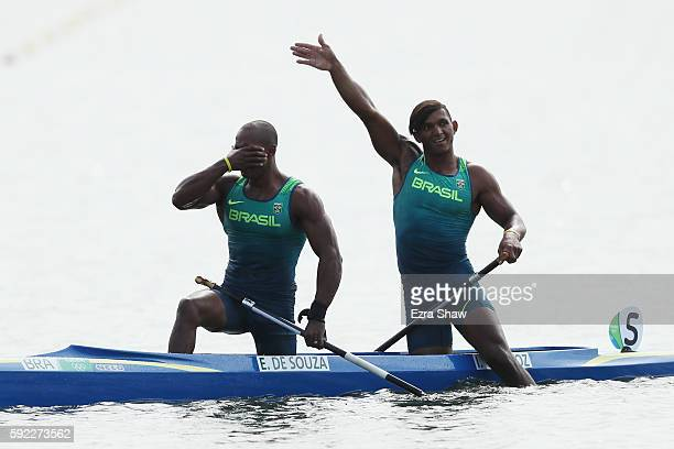 Erlon De Souza Silva and Isaquias Queiroz dos Santos of Brazil celebrate winning the silver medal in the Men's Canoe Double 1000m Finals on Day 15 of...