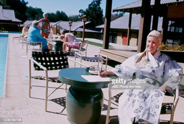 Erma Bombeck at the Golden Door Spa appearing on the ABC tv series 'Good Morning America'.