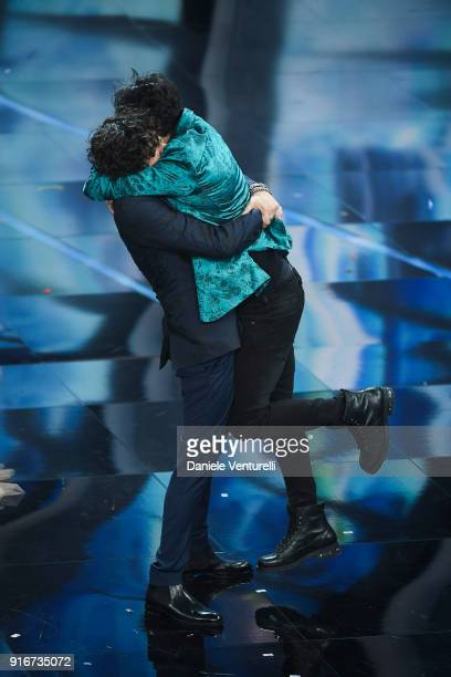 Ermal Meta and Fabrizio Moro attend the closing night of the 68 Sanremo Music Festival on February 10 2018 in Sanremo Italy