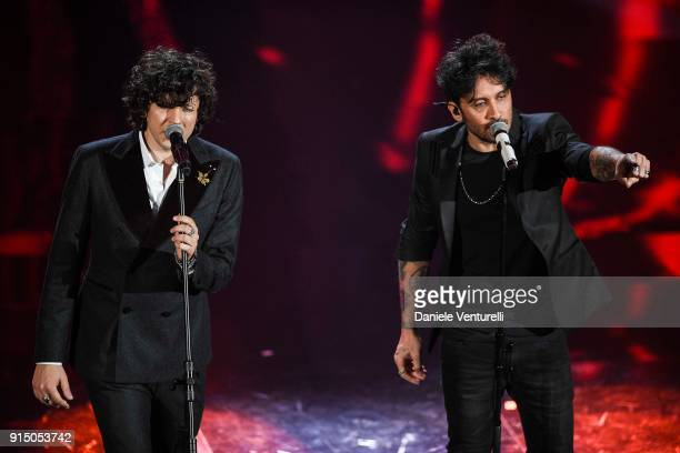 Ermal Meta and Fabrizio Moro attend the first night of the 68 Sanremo Music Festival on February 6 2018 in Sanremo Italy