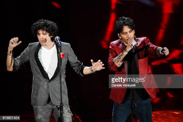 Ermal Meta and Fabrizio Moro attend the third night of the 68 Sanremo Music Festival on February 8 2018 in Sanremo Italy