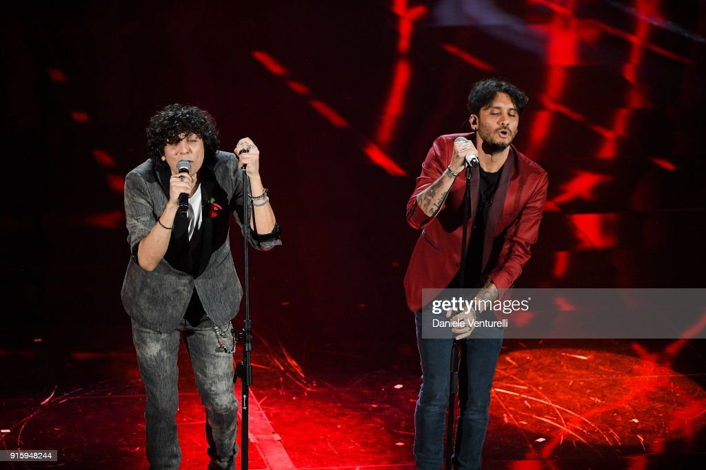Ermal Meta and Fabrizio Moro attend the third night of the 68. Sanremo Music Festival on February 8, 2018 in Sanremo, Italy.