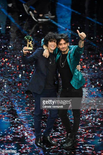 Ermal Meta and Fabrizio Moro winners of the 68th Italian Music Festival in Sanremo pose with the award at the Ariston theatre duringthe closing night...
