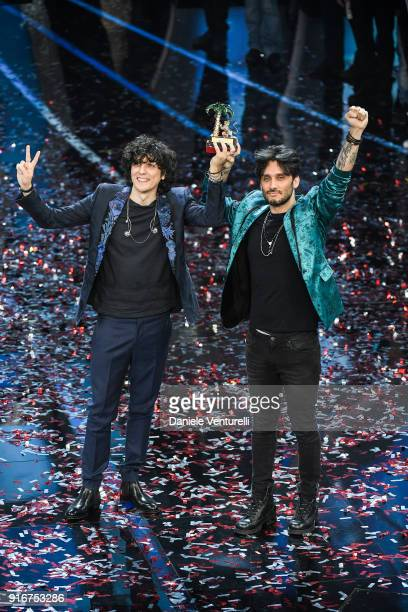 Ermal Meta and Fabrizio Moro, winners of the 68th Italian Music Festival in Sanremo, pose with the award at the Ariston theatre duringthe closing...