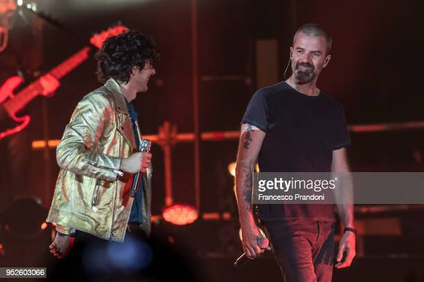 Ermal Meta and Jarabe de Palo perform on stage at Mediolanum Forum on April 28 2018 in Milan Italy