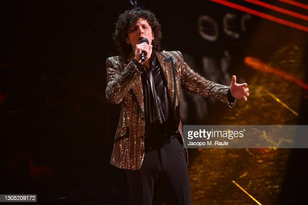 Ermal Meta is seen on stage at the 71th Sanremo Music Festival 2021 at Teatro Ariston on March 03, 2021 in Sanremo, Italy.