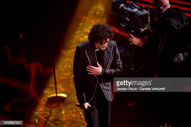Ermal Meta is seen on stage during at the 71th Sanremo Music Festival 2021 at Teatro Ariston on March 06, 2021 in Sanremo, Italy.