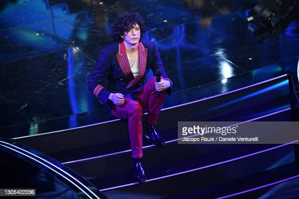 Ermal Meta is seen on stage during the 71th Sanremo Music Festival 2021 at Teatro Ariston on March 04, 2021 in Sanremo, Italy.