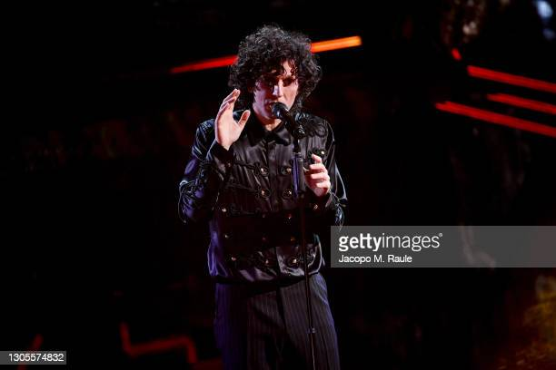 Ermal Meta is seen on stage during the 71th Sanremo Music Festival 2021 at Teatro Ariston on March 05, 2021 in Sanremo, Italy.
