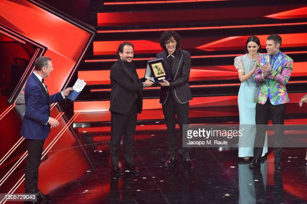 Ermal Meta is seen on stage during the 71th Sanremo Music Festival 2021 at Teatro Ariston on March 06, 2021 in Sanremo, Italy.