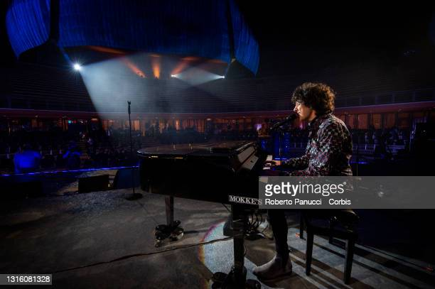 Ermal Meta performs during Labor Day Concert at Auditorium Parco Della Musica on May 1, 2021 in Rome, Italy.