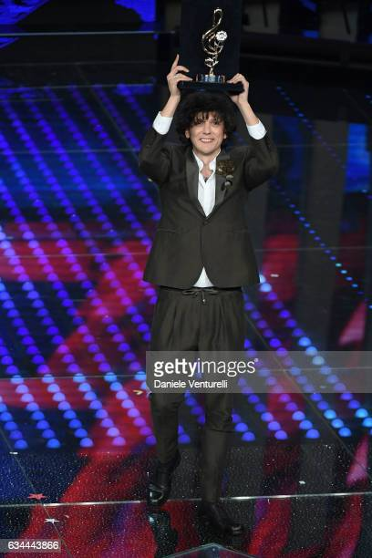 Ermal Meta receives the Cover Award 2017 during the third night of the 67th Sanremo Festival 2017 at Teatro Ariston on February 9 2017 in Sanremo...