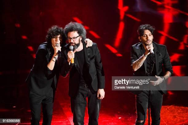 Ermal Meta Simone CristicchiÊand Fabrizio MoroÊattend the fourth night of the 68 Sanremo Music Festival on February 9 2018 in Sanremo Italy