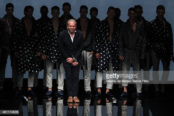 Ermanno Scervino walks the runway during the Ermanno Scervino show as a part of Milan Fashion Week Menswear Spring/Summer 2015 on June 24 2014 in...