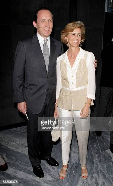 Ermenegildo Zegna and wife attend Tom Ford Boutique Opening during Milan Fashion Week Spring/Summer 2009 on June 23, 2008 in Milan, Italy.