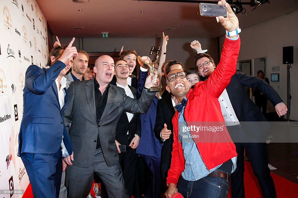 Ermias 'Amiaz' Habtu with some award winners and smart attend the Jupiter Award 2016 on April 06, 2016 in Berlin, Germany.