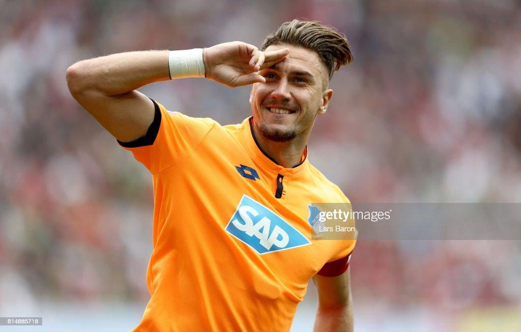 Ermin Bicakcic of Hoffenheim celebrates after winning the Telekom Cup 2017 3rd place match between Borussia Moenchengladbach and TSG Hoffenheim at Borussia Park on July 15, 2017 in Moenchengladbach, Germany.